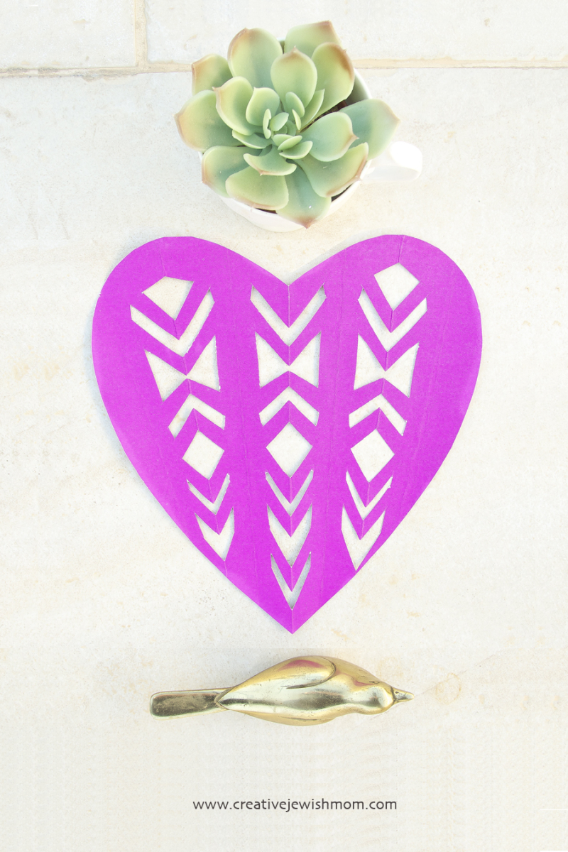 Cut Paper Heart Geometric pattern