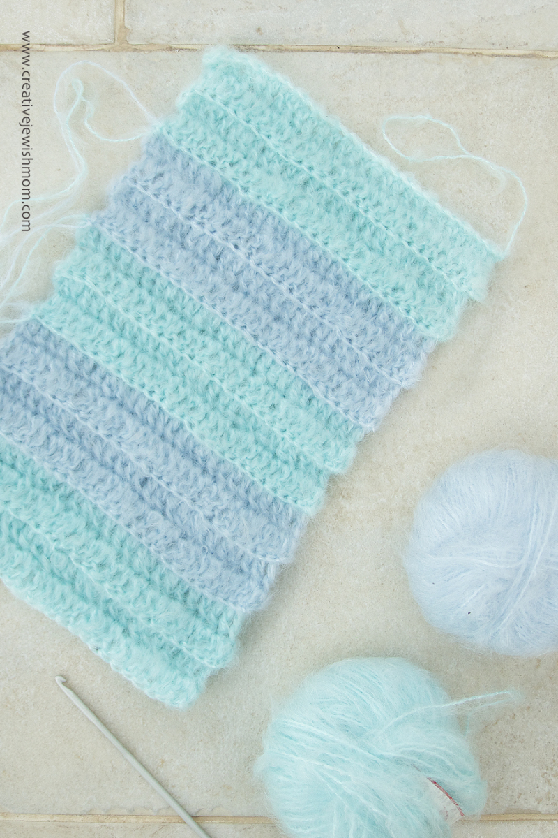 Crocheted Mohair Striped Rib Cowl