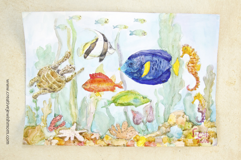 Watercolor painting lesson for kids with fish
