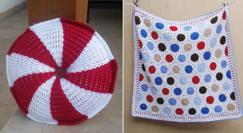 Crocheted hexigon dot blanket,pin wheel round crocheted cushion