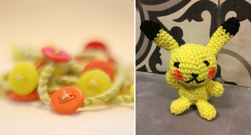 Crocheted button necklace,crocheted pikachu