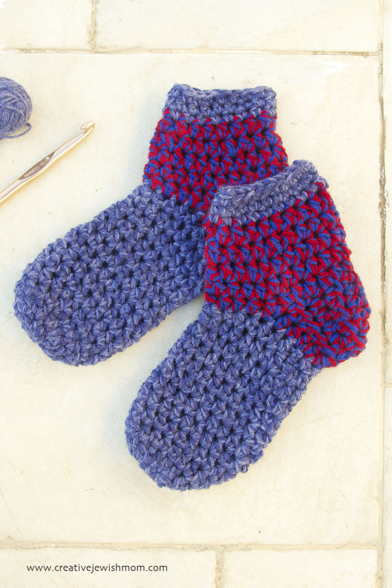 Crocheted chunky sock slippers close up