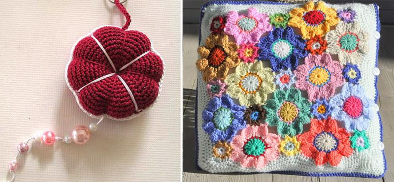 Hearts pumpkin pin cushion,crocheted flowers pillow cover,