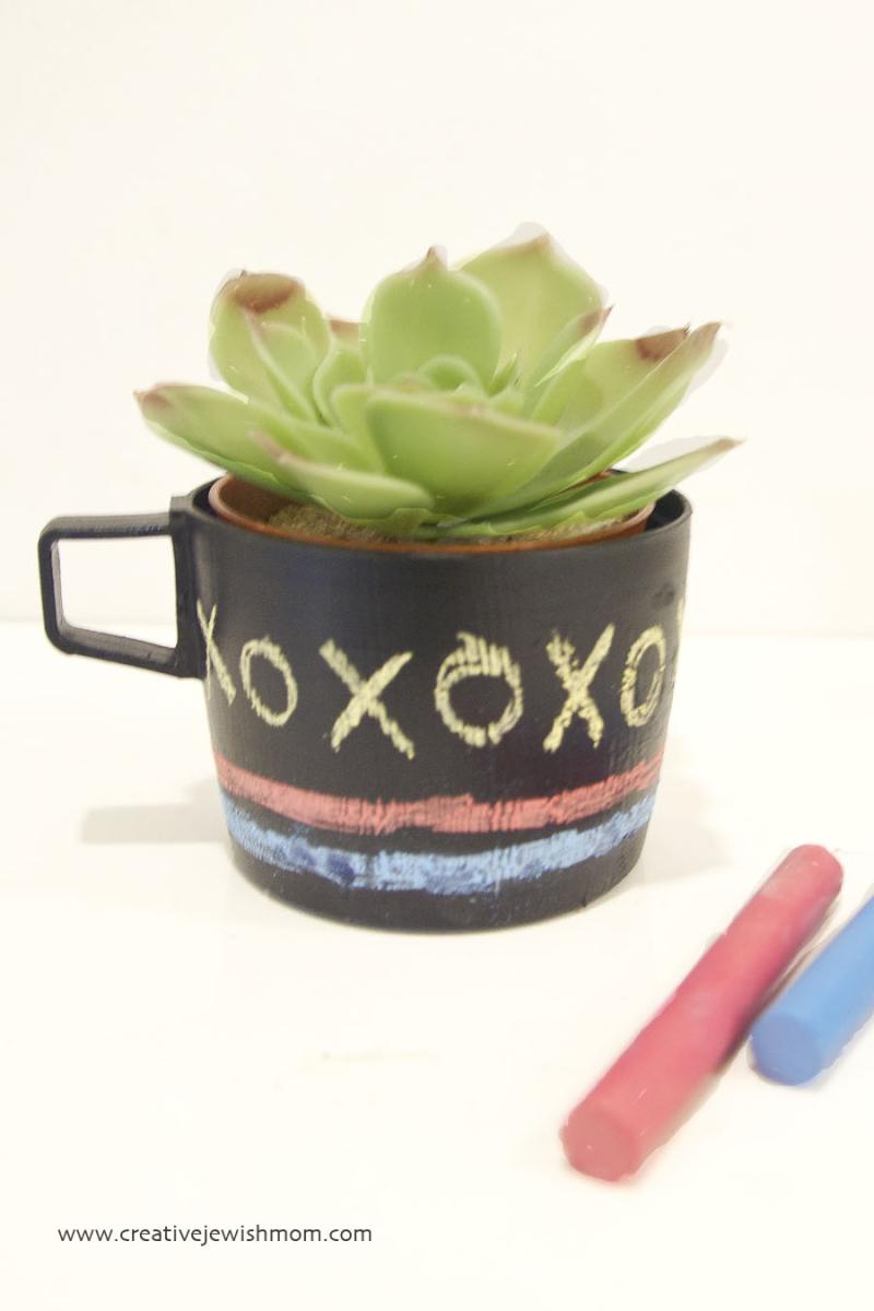 Chalkboard succulent pots for doodling