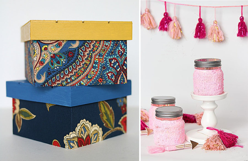 Fabric storage boxes,pink epsom salt candle jars