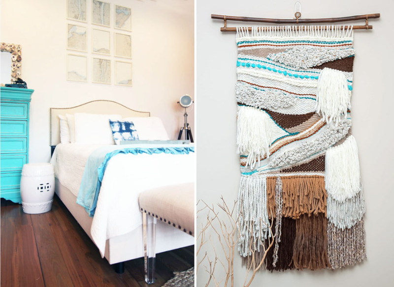 Weaving chunky with turquoise accent,room wth turquoise dresser