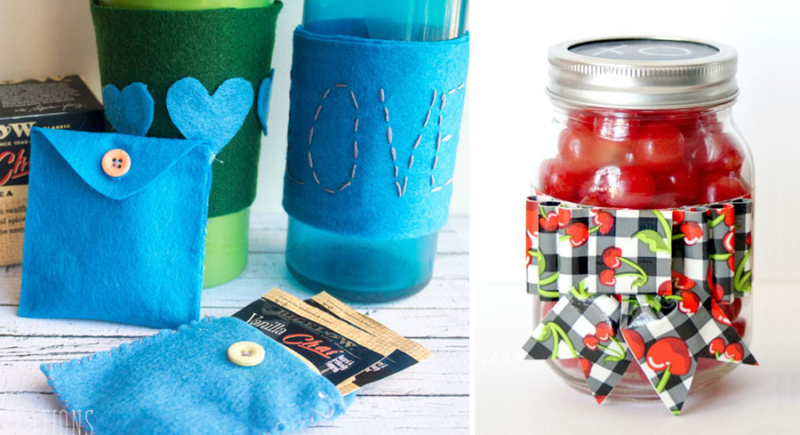 Duct tape mason jar bow,felt tea bag cozies