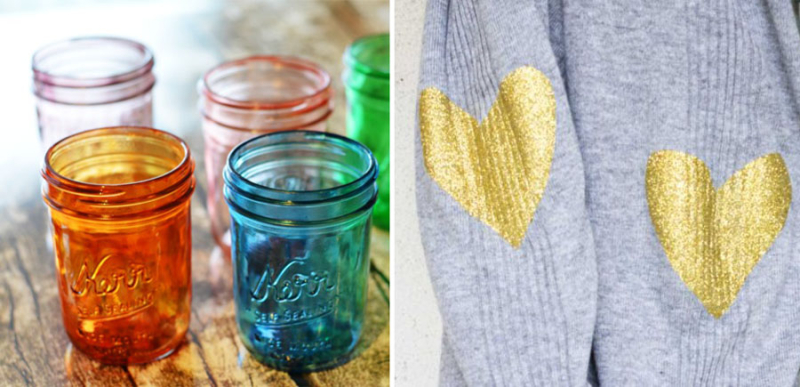 DIY colored mason jars,sparkle hearts elbow patches