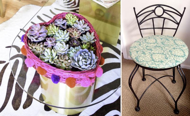 Metal flea market chair makeover,heart shaped succulent basket