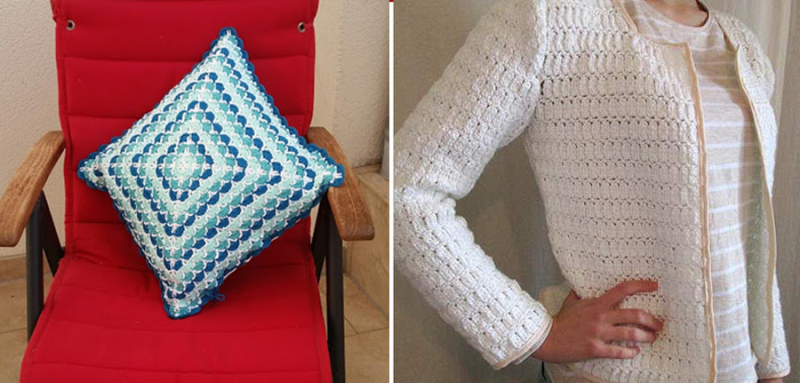 Crocheted pillow cover, crocheted women's jacket cardigan