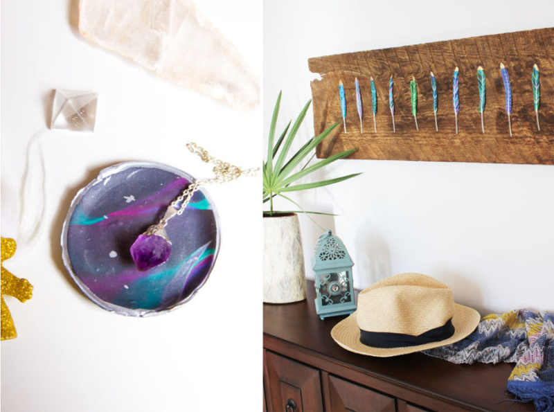 Feather on wood wall art,DIY planets ring dish