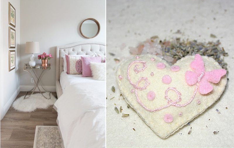 Embroidered heart lavender pouch,guest room with pink