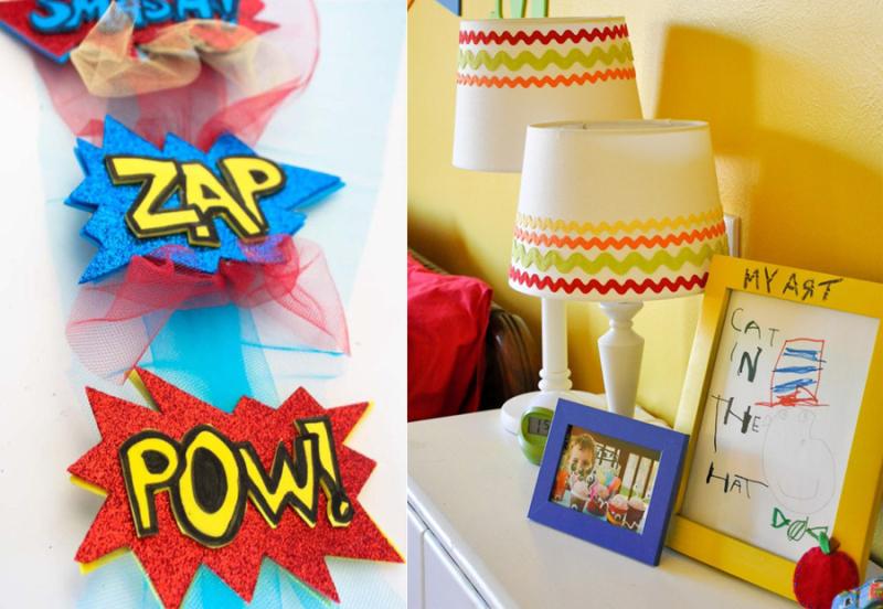 Dr Suess kid's bedroom,super hero hair clips