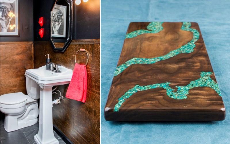 Wood paneled wainscotting,turquoise inlaid cheese board