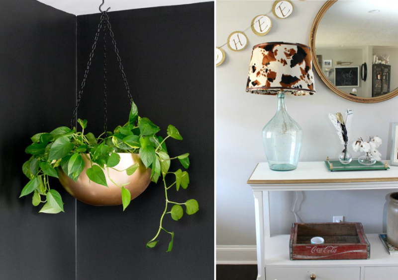 DIY faux cowskin lamp,DIY hanging pot from metal bowl