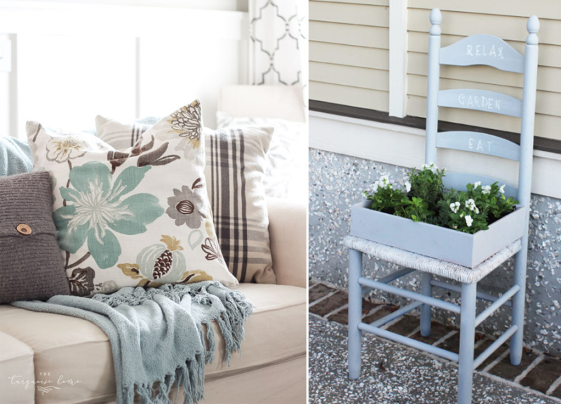 DIY toss pillow,old chair planter