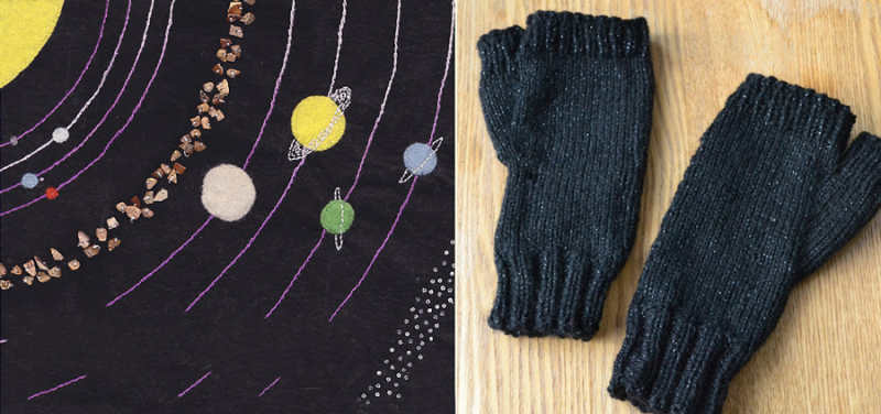 Knit fingerless gloves,embroidered solar system