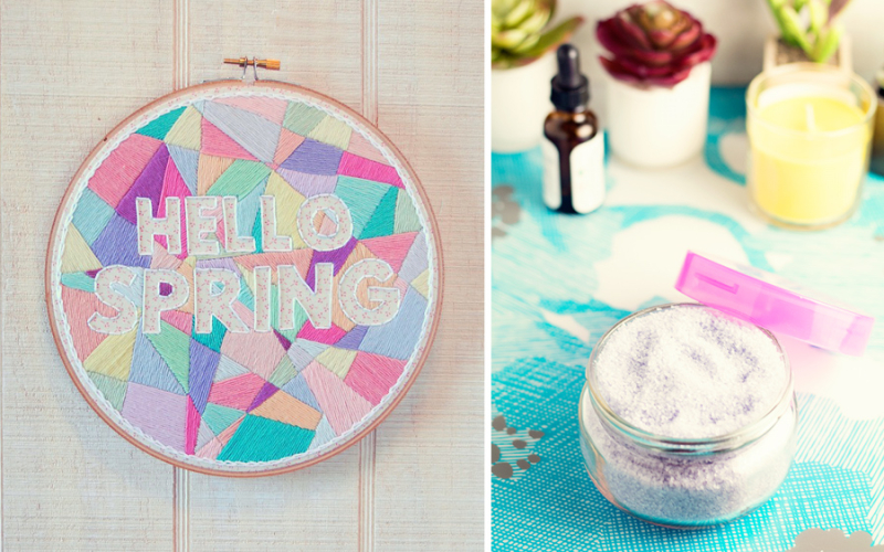 Lavender bath soak,hello spring geo embroidery