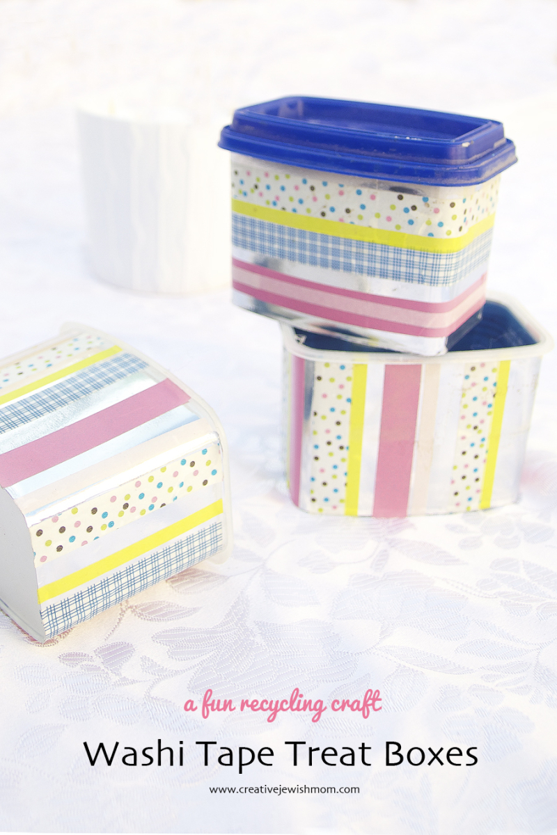 Washi Tape Treat Boxes From Recycled Cheese containers