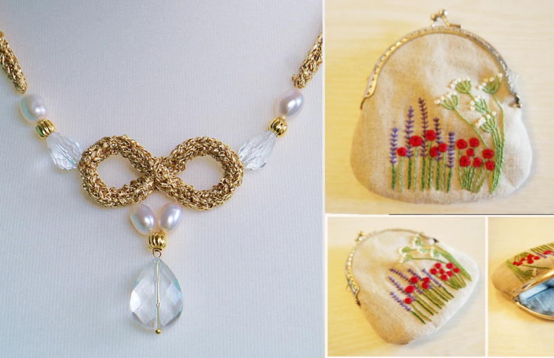 Embroidered clasp purse gold i chord necklace