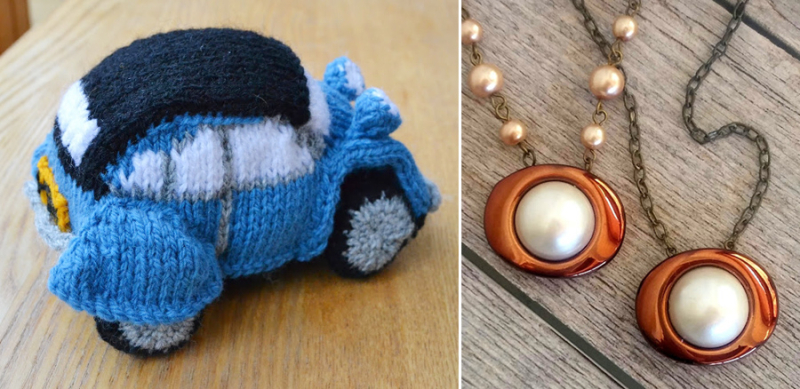 Knit car pendant necklaces