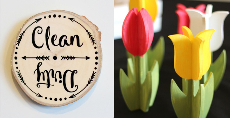 Wooden tulips  clean dirty dishwasher magnet