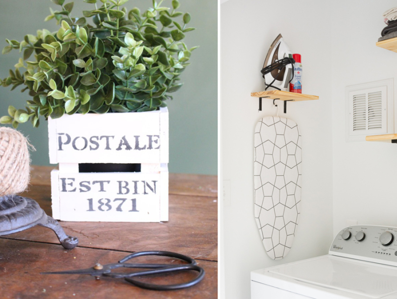 DIY hanging shelf for laundry room wooden box for faux plant