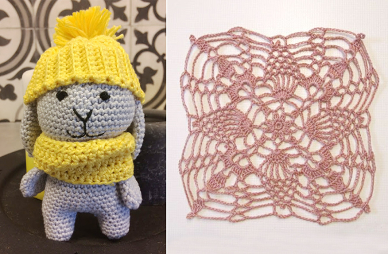 Crocheted amigurumi bunny crocheted square doily
