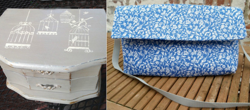 Stencilled wooden jewelry box purse from dish towel