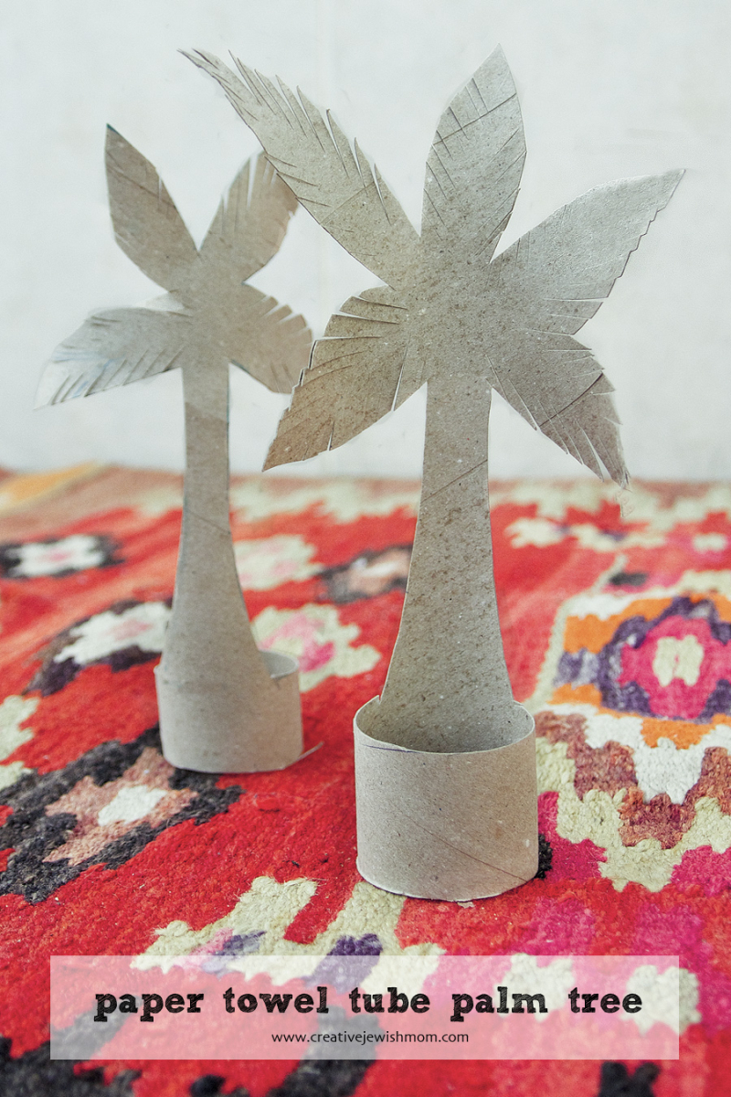 Recycled paper towel tube palm tree craft for passover