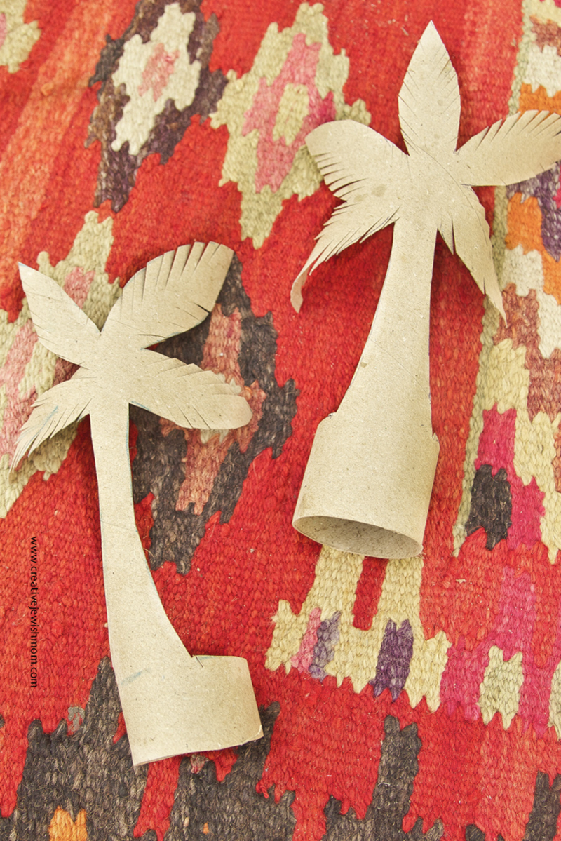 Recycled paper towel tube palm trees