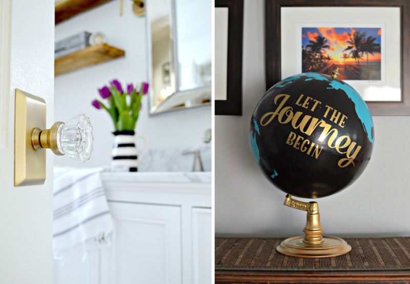 Upcycled globe glass crystal door knob