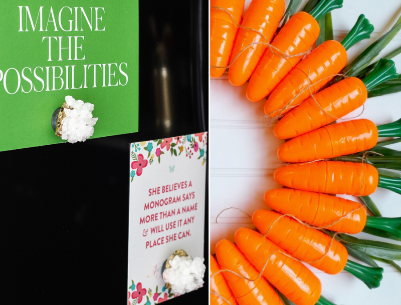 Faux crystal magnets  carrot treat boxes decoration