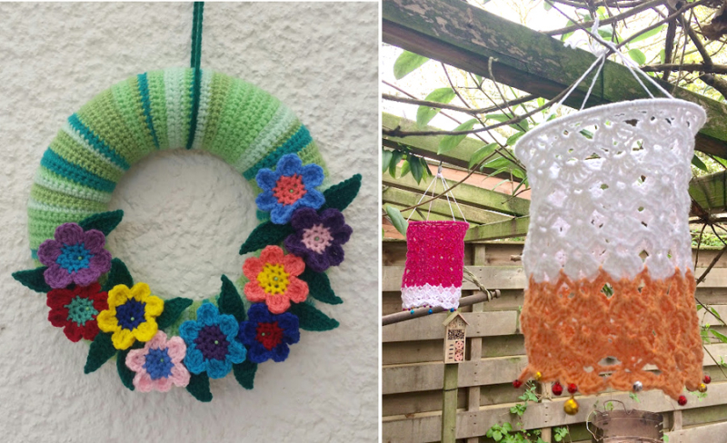 Crocheted hanging garden lantern crocheted flowers wreath