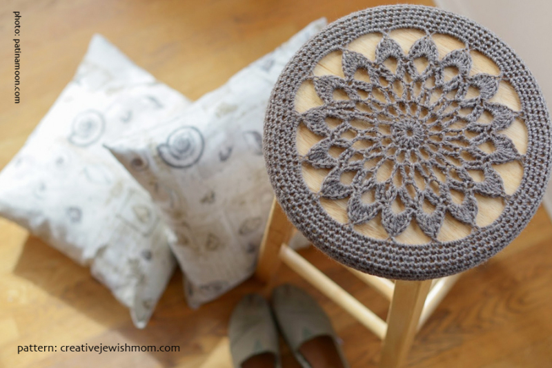 Crocheted Stool Cover Grey Star Medallion