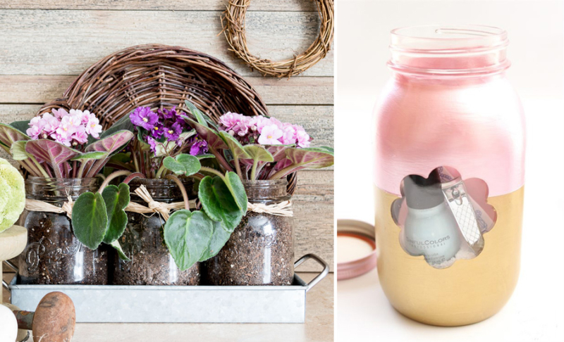 Mason jar voilet planters mason jar gift package
