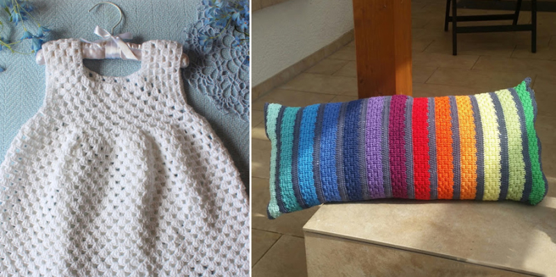Crocheted baby granny stitch dress crocheted rainbow stripes pillow