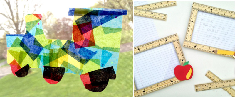 Tissue paper sun catcher kids craft ruler frames for teacher