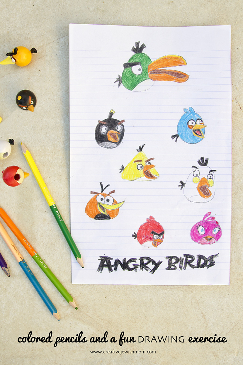 Angry Bird Drawing Exercise With Colored Pencils Creative Jewish Mom