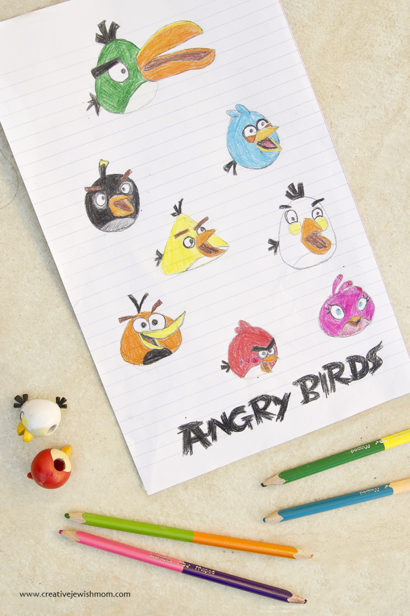 Angry Birds drawings with colored pencil