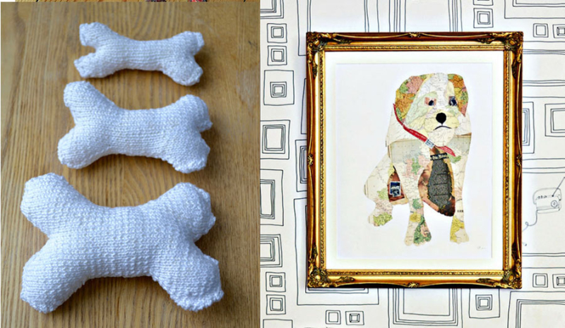 Map collage pet portrait knit bone dog toy
