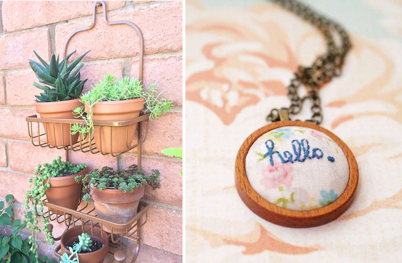 Shower caddy plant holder embroidered pendant
