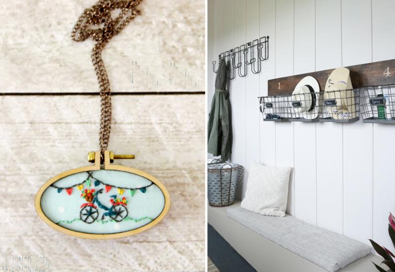 Mini bicycle embroidery pendant farmhouse mudroom