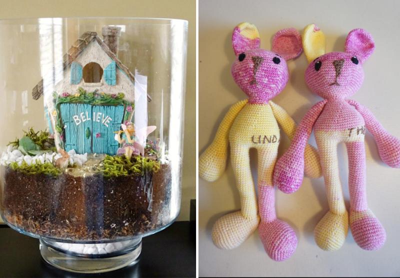 Crocheted bears DIY fairy terrarium