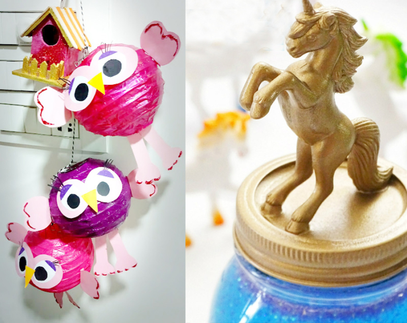 Unicorn glitter jar craft  owl paper lanterns