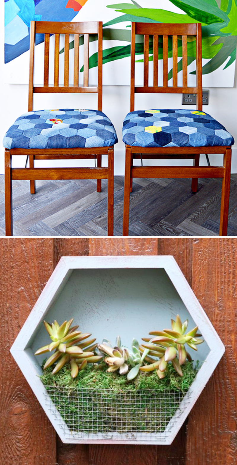 Denim hexigon chair covers  succulent hexigon frame