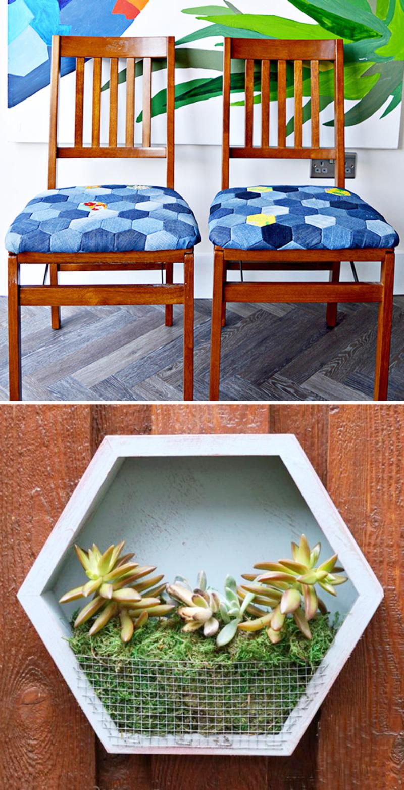 Denim hexigon chair covers  succulent hexigon frame