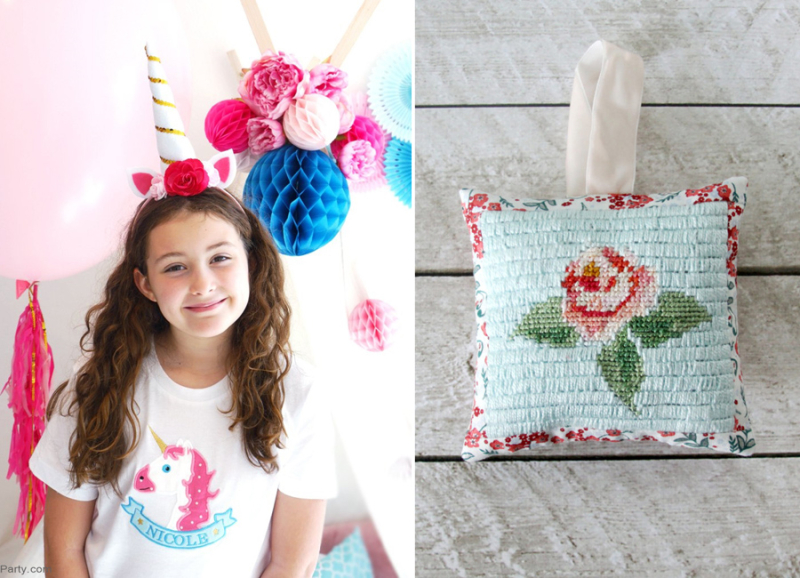 Unicorn Birthday Headband craft needlepoint rose sachet
