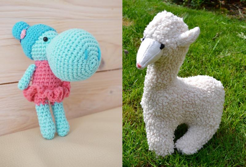 Crocheted amigurumi hippo stuffed alpaca from loopy fleece