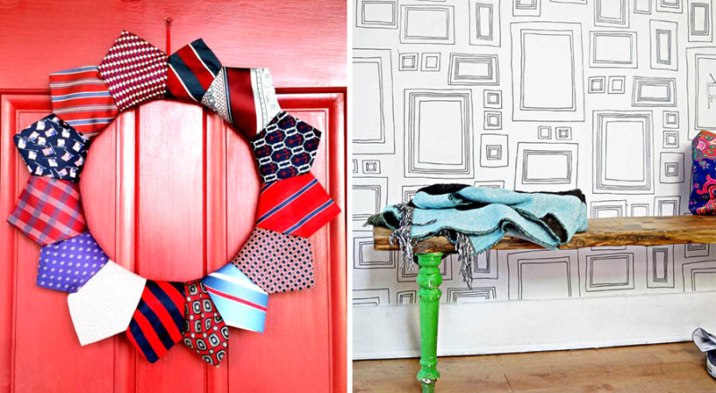 Upcycled necktie wreath DIY scaffolding and old chair legs bench